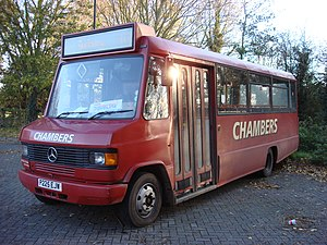 Chambers (bus company) - Marshall bodied Mercedes-Benz 811D in Bury St Edmunds in November 2008