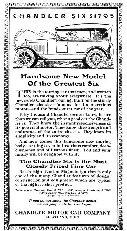 1919 advertisement for the Chandler Motor Car company