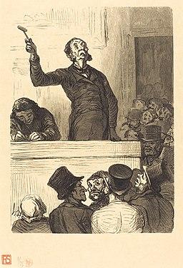 Charles Maurand after Honoré Daumier, L'Hotel des ventes - le Commissaire-priseur, 1863, NGA 56770