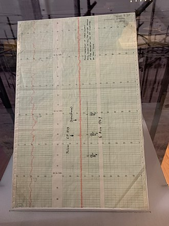 Radio astronomy - Chart on which Jocelyn Bell Burnell first recognised evidence of a pulsar, in 1967 (exhibited at Cambridge University Library)
