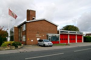 Cheadle Hulme - Cheadle Hulme Fire Station on Turves Road, built in 1960. The site also incorporates an ambulance station.