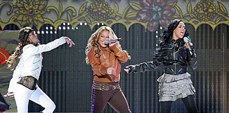 The Cheetah Girls (group) - Adrienne Bailon, Sabrina Bryan and Kiely Williams performing during the One World Tour in Jacksonville, Florida in October 2008