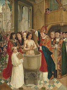 Tableau représentant un baptême donné par un évêque dans une église.