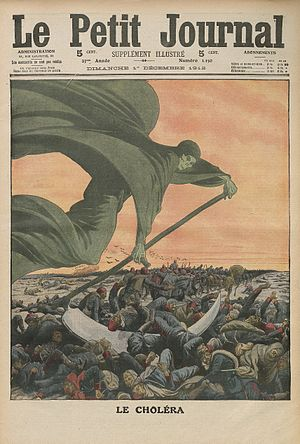 1899–1923 cholera pandemic - Drawing of Death bringing the cholera, in Le Petit Journal (1912).