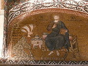 Mosaic of enthroned Christ with Theodore Metochites presenting a model of his church