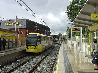 Chorlton tram stop - The rebuilt stop, shortly after opening