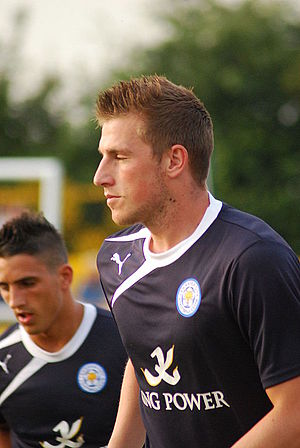 Chris Wood (footballer, born 1991) - Wood warming up for Leicester City in 2013