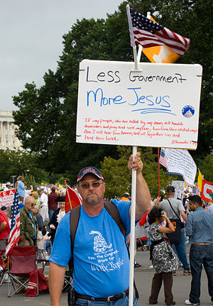 Christian right protestor at Tea march