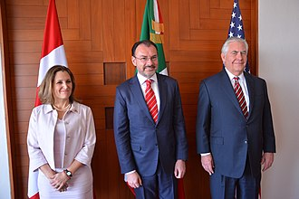 North American Free Trade Agreement - Chrystia Freeland, Luis Videgaray Caso and Rex Tillerson in Mexico City in 2018