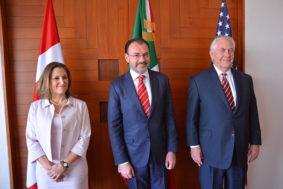 Chrystia Freeland, Luis Videgaray Caso and Rex Tillerson in Mexico City - 2018 (40013111732)