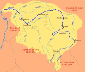 Verlauf der kija кия im einzugsgebiet des tschulym