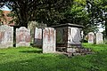 Church of St Nicholas, Ash-with-Westmarsh, Kent - churchyard headstones and tomb chest 01.jpg