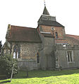 Church of St Nicholas, Fyfield, Essex, England - central tower and chancel from north.jpg