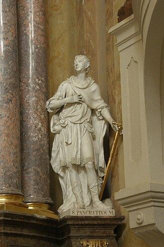 Pancras of Rome - Statue of Pancras in a church at Vranov, Moravia.