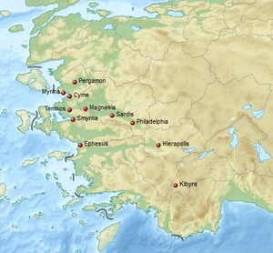 AD 17 Lydia earthquake - Location of some of the affected towns and cities in Asia Minor
