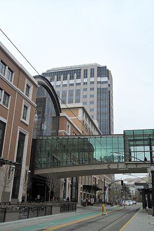 City Creek Center - City Creek Center from Main Street with the skybridge