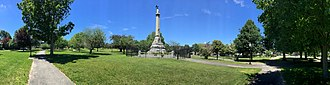 New Bedford, Massachusetts - Soldiers and Sailors Monument stands in the center of Clasky Common Park