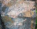 Clast-rich impact pseudotachylite (Sudbury Breccia, Paleoproterozoic, 1.85 Ga; Windy Lake Northwest roadcut, Sudbury Impact Structure, Ontario, Canada) 24 (46822840655).jpg