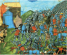 Fifteenth century painting of the Battle of Vouillé (507) showing the Frankish King Clovis I killing the Visigoth King Alaric II against the background of a mass of armoured knights and a few tents.