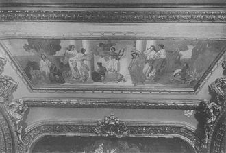 """Columbia Theatre (New York City) - Ceiling mural of """"The Goddesses of the Arts"""""""