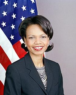 Portrait officiel de l'actuelle secrétaire d'État, Condoleezza Rice en février 2005.