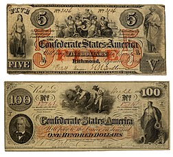 Front of Confederate notes (back unprinted)