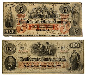 Confederate war finance - Front of Confederate notes (back was unprinted)