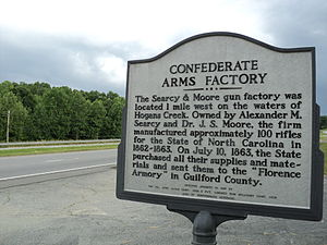 Rockingham County, North Carolina - Image: Confederate Arms Factory Rockingham County North Carolina historical sign