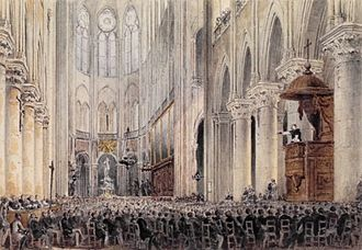 Jean-Baptiste Henri Lacordaire - Lacordaire preaching his Lenten Conferences from the elevated pulpit at Notre-Dame Cathedral, Paris, 1845.
