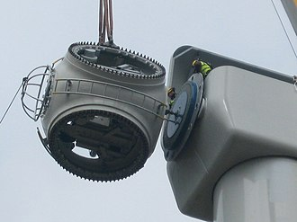 Wind turbine design - A Wind turbine hub being installed