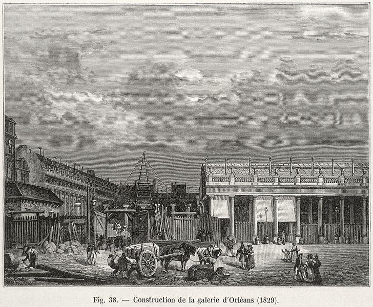 Fichier:Construction de la galerie d'Orléans, 1829.jpg