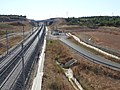Contournement Nimes-Montpellier track with substation by A9 bridge 6076.JPG
