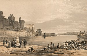 "Conwy Railway Bridge - A lithograph entitled ""Conway Bridge"" showing the second wrought-iron box girder tube being floated into position, c. September 1848."