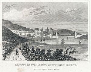 Conway Castle & New Suspension Bridge. Caernarvonshire, North Wales