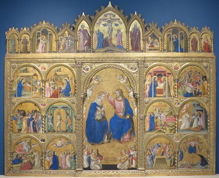 Archivo:Coronation of the Virgin Altarpiece by Guariento di Arpo, 1344, Norton Simon Museum.JPG