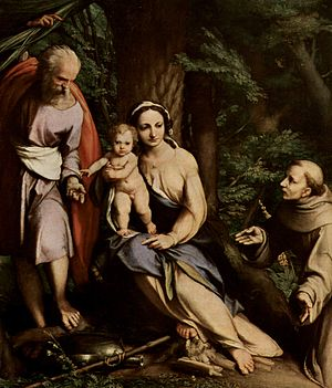 Rest on the Flight to Egypt with Saint Francis - Image: Correggio 059