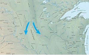 Coteau des Prairies - The Coteau des Prairies: blue arrows indicate paths of the two lobes of the glacier around either side of the formation.