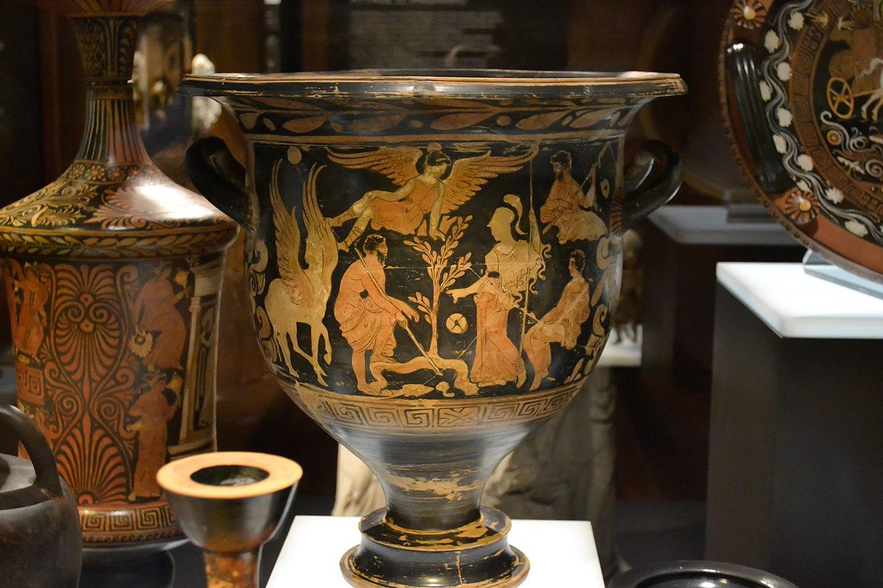 Crátera con escena en la que Poseidón y Atenea rivalizan por la posesión de Atenas. Grupo de Nápoles 3227 - M.A.N.jpg