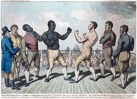 Tom Cribb vs Tom Molineaux in a re-match for the heavyweight championship of England, 1811 Cribb vs Molineaux 1811.jpg
