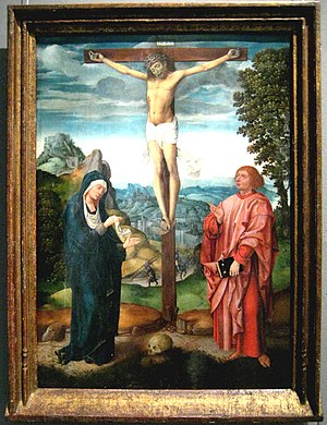 Tau Cross - Crucifixion scene with a Tau cross, School of Brugge, late 15th or early 16th century