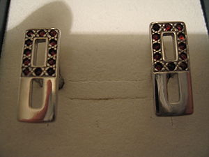 Cufflinks made of silver with Czech garnets by...