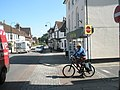 Cyclist waits gap in Petersfield town centre - geograph.org.uk - 835401.jpg