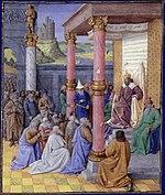 Ciro II e os hebreus. Iluminura de Jean Fouquet, c. de 1470-75