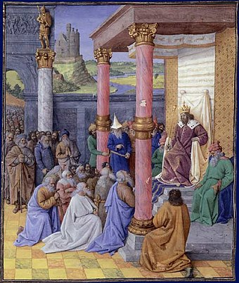 Cyrus the Great releases Jews from the Babylonian captivity to resettle and rebuild Jerusalem. Jean Fouquet, 1470. Cyrus II le Grand et les Hebreux.jpg