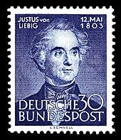 German stamp picturing Justus von Liebig, 1953 (Source: Wikimedia)