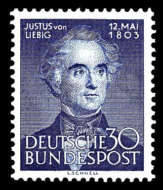 Justus von Liebig - German stamp picturing Justus von Liebig, 1953