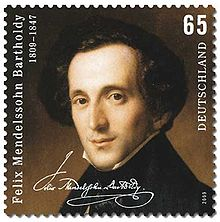 postage stamp showing on a dark background a head-and-shoulders portrait of a dark-haired, narrow faced, middle-aged man looking out at the viewer, wearing a high collar and dark coat; text comprises 'Felix Mendelssohn Bartholdy', the dates 1809–1847, a facsimile of Mendelssohn's signature, the figure 65 and the word 'Deutschland'