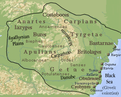 Dacia during the reign of Burebista, 82 BC.