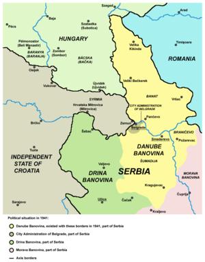 Danube Banovina - Danube Banovina after Axis invasion.