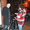 Dara O'Briain talks to greyhound advocates about the death of Snip Nua in April 2010 at York.jpg